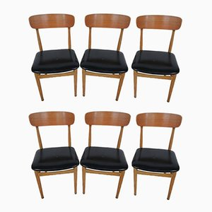Leather Dining Chairs, 1950s, Italy, Set of 6