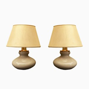 Murano Glass and Brass Table Lamps from VeArt, 1950s, Italy, Set of 2