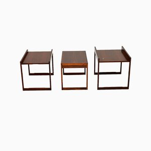 Rosewood Nesting Tables from CFC Silkeborg, 1960s, Set of 3
