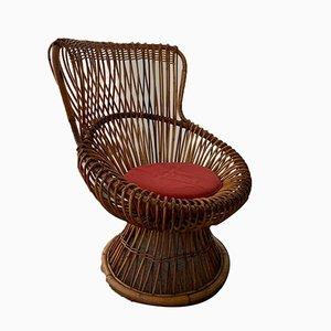 Modell Margherita Armlehnstuhl aus Korbgeflecht von Franco Albini, 1960er