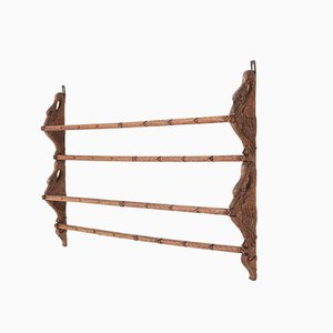 Black Forest Oak Plate Rack with Hand Carved Geese Figure, 1900s