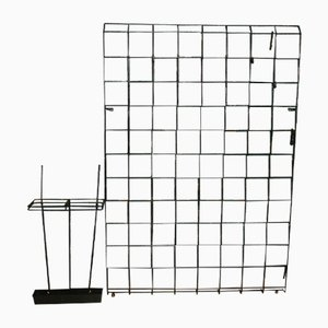 Mid-century String Coat Rack With Black Wire Frame & Umbrella Stand