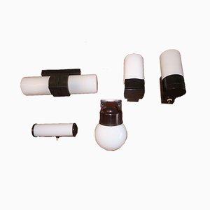 Bauhaus Wandlampen aus Bakelit & Milchglas, 5er Set