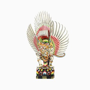 Escultura balinesa colorida tallada a mano vintage