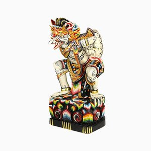 Vintage Hand Carved Colourful Balinese Sculpture