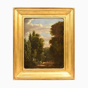 Landscape Oil Painting on Wood, Bertin, First Half of the 19th Century