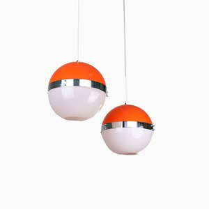 Mid-Century Italian Space Age Pendant Lamps, Set of 2
