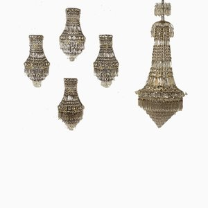 Empire Bohemian Crystal Sconces, 1940s, Set of 2