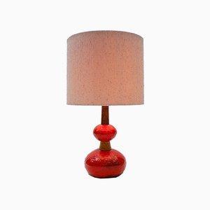 Scandinavian Fat Lava Ceramic and Teak Table Lamp, 1960s