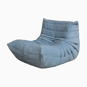 Certified Togo Lounge Chair in Durable Sky Fabric Diamond Quality by Michel Ducaroy for Ligne Roset