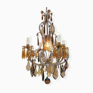 Chandelier Crystal Clear and Amber Lights in Five, 1950s