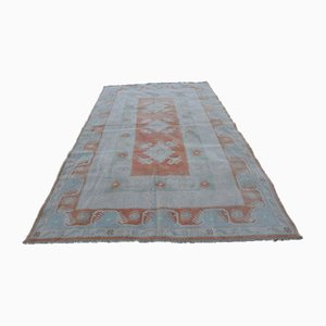 Vintage Distressed Pastel Color Oushak Area Carpet, 1970s