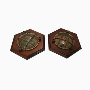 Vintage Maritime Nautical Wooden Sconces, Set of 2