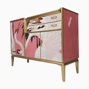 Mid-Century Lebus Sideboard Cocktail Cabinet and Desk with Gucci Heron Decoupage