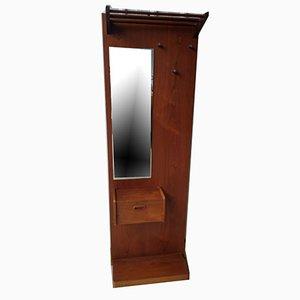 Perchero británico vintage con percheros de espejo y perchero