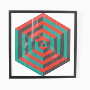 Oeuvre d'impression signée géométrique du milieu du siècle n ° 1
