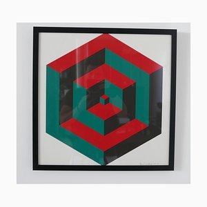 Oeuvre d'impression signée géométrique du milieu du siècle n ° 3