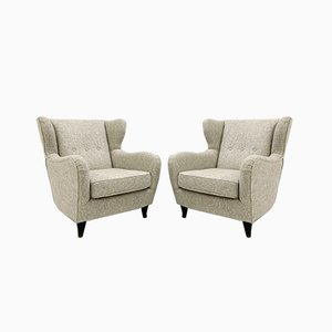 Italian Wingback Armchairs, 1950s, Set of 2
