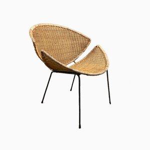 Iron & Rattan Lounge Chair, 1950s
