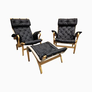 Leather Pernilla 69 Armchairs by Bruno Mathsson for DUX, Set of 2