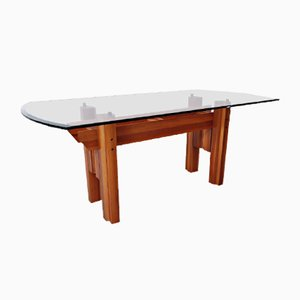 Italian Dining Table, Wood & Glass Top, 1970s