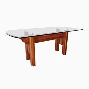 Italienischer Esstisch, Holz & Glasplatte, 1970er Jahre