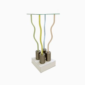 Le Strutture Tremano Table in Polychromatic Lacquered Metal, White Formica and Glass by Ettore Sottsass for Belux