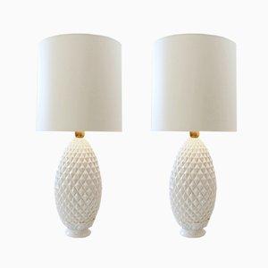 White Ceramic Pineapple Table Lamps, 1970s, Set of 2
