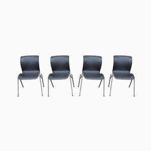 Esszimmerstühle aus verchromtem Stahl von Fritz Hansen, 1993, 4er Set