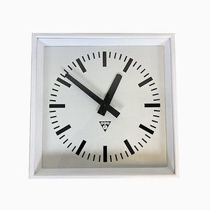 White Industrial Square Wall Clock from Pragotron, 1970s