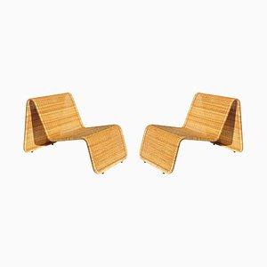 Italian Wicker & Rattan Lounge Chairs, 1950s, Set of 2