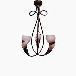 Lámpara de araña vintage de latón rosa