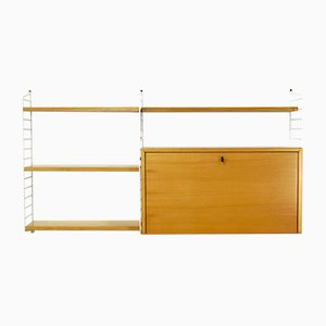Ash Tree Veneer Wall Unit by Kajsa & Nisse Strinning for String, 1960s