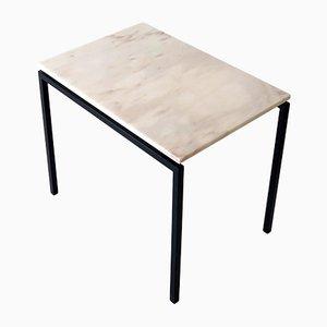 Marmor Tischplatte aus Schwarz Lackiertem Metall, 1970er