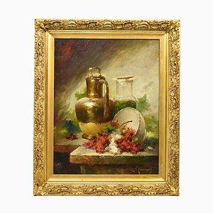 Nature Morte, Ribes et Cuivre, Peinture à l'Huile sur Toile, 19ème Siècle