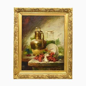 Still Life Art, Antique Painting, Ribes and Copper, Oil Painting on Canvas, 19th Century