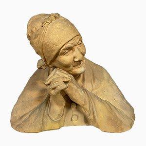 Girardet Berthe 1867-1940, busto di donna anziana con sciarpa, terracotta patinata