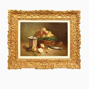 Dipinto antico, Still Life Painting, Basket of Red Apples, Oil on Canvas, 19th Century
