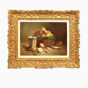 Peinture Antique, Peinture Nature Morte, Panier de Pommes Rouges, Huile sur Toile, 19ème Siècle.