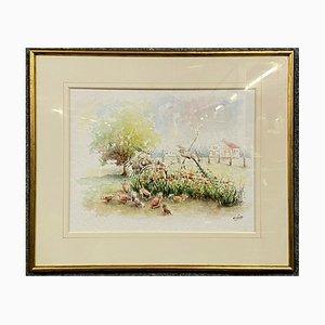 M Gillotte 1941, Paesaggio rurale in Borgogna sotto vetro, acquerello