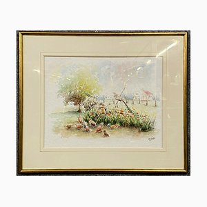M Gillotte 1941, Rural Landscape in Burgundy under Glass, Watercolor