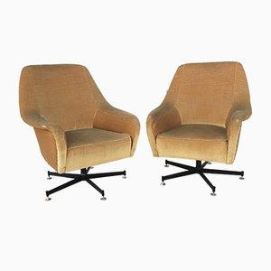 Velvet Swivel Chairs, 1960s, Set of 2