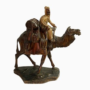 Depicting a Camel Orientalist and His Mount, 1940, Polychrome Wood Sculpture