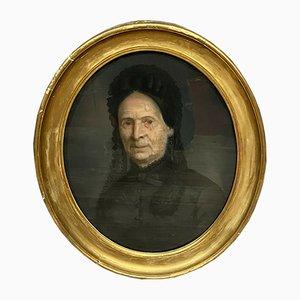 Escuela de francés retrato de una anciana, del siglo XIX, óleo sobre lienzo