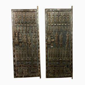 Antique Large Doors with Carved Animals, Set of 2