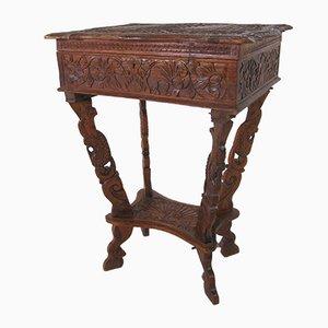 Vintage Antique Hand Carved Side Table, 1900s