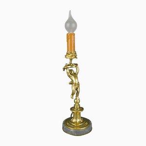Cherub Tischlampe aus Bronze & Marmor, 1920er