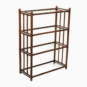 Mid-Century Rattan and Glass Shelving Unit