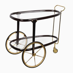 Mahogany and Brass Trolley by Cesare Lacca, 1950s