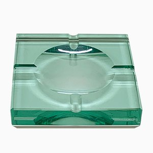 Mid-Century Modern Italian Green Glass Squared Ashtray from Fontana Arte, 1960s